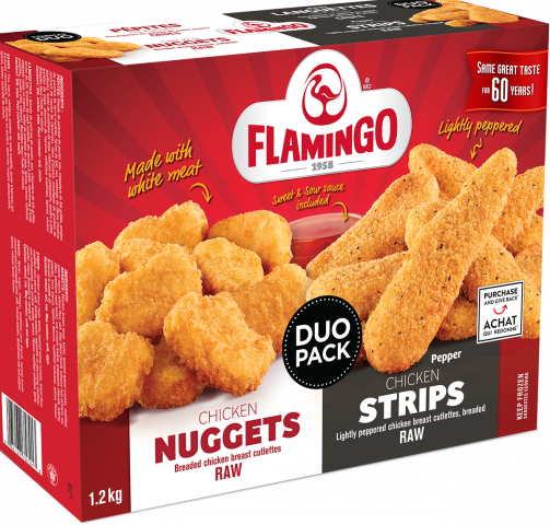 Duo of chicken nuggets and chicken pepper strips