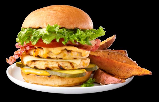 Burgers décadent et frites de patates douces