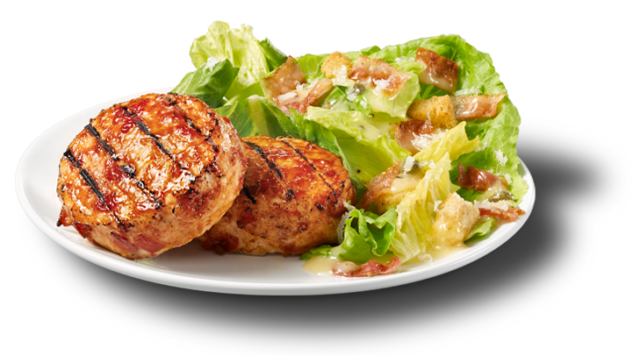 Chicken Medallions with Bacon and Caesar Salad