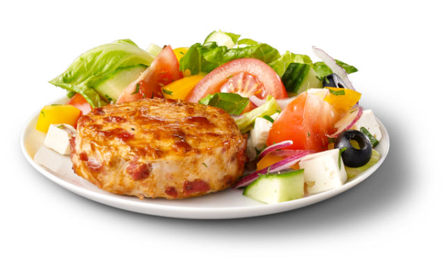 Chicken Medallions with Bacon and Greek Salad