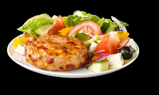Médaillons de poulet au bacon et salade Grecque
